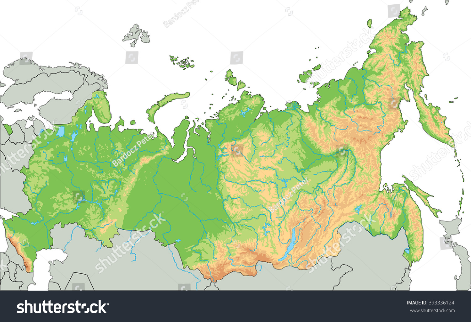 High Detailed Russia Physical Map Stock Vector - Detailed map of russia