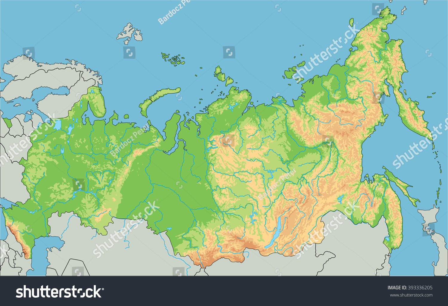 High Detailed Russia Physical Map Stock Vector - Physical map of russia