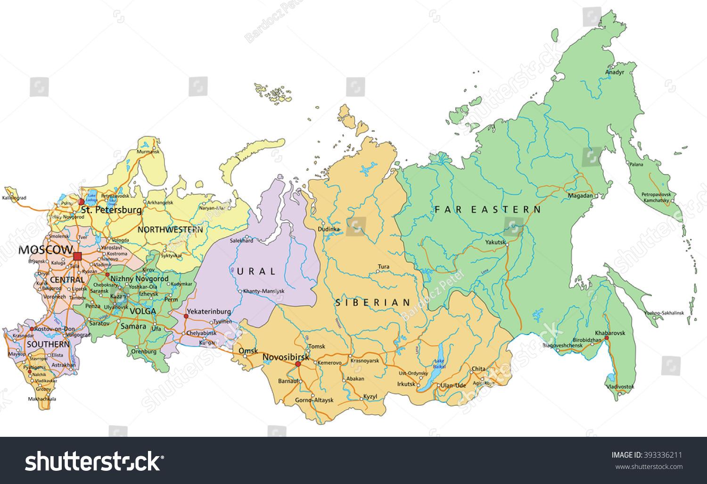Russland Sehr Detaillierte Bearbeitbare Politische Stock