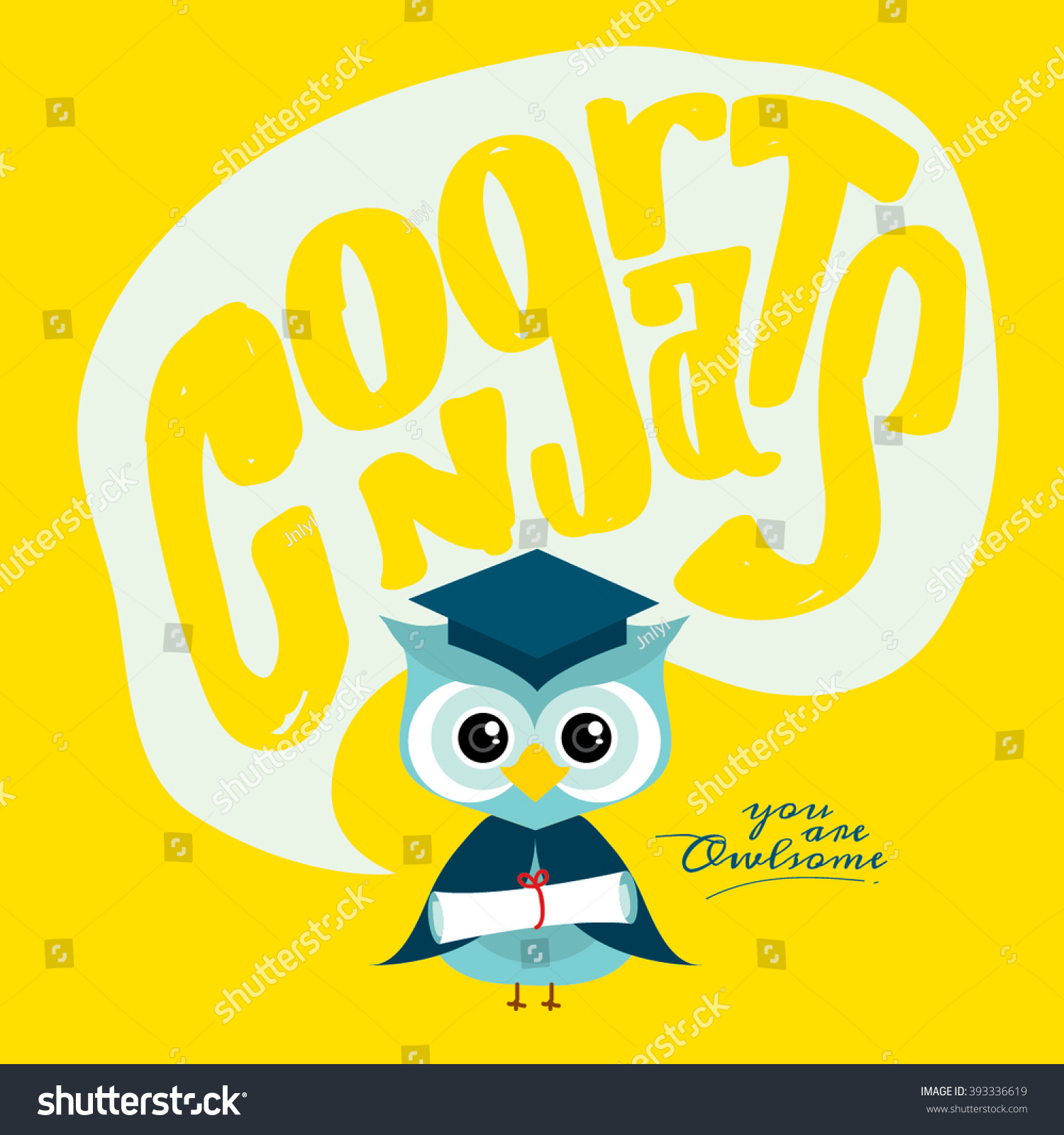Happy Graduation Congrats Typography Design Congratulations Stock