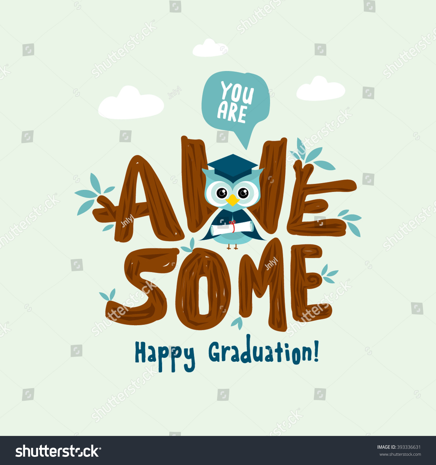 Awesome Typography Design Happy Graduation Greeting Stock Vector