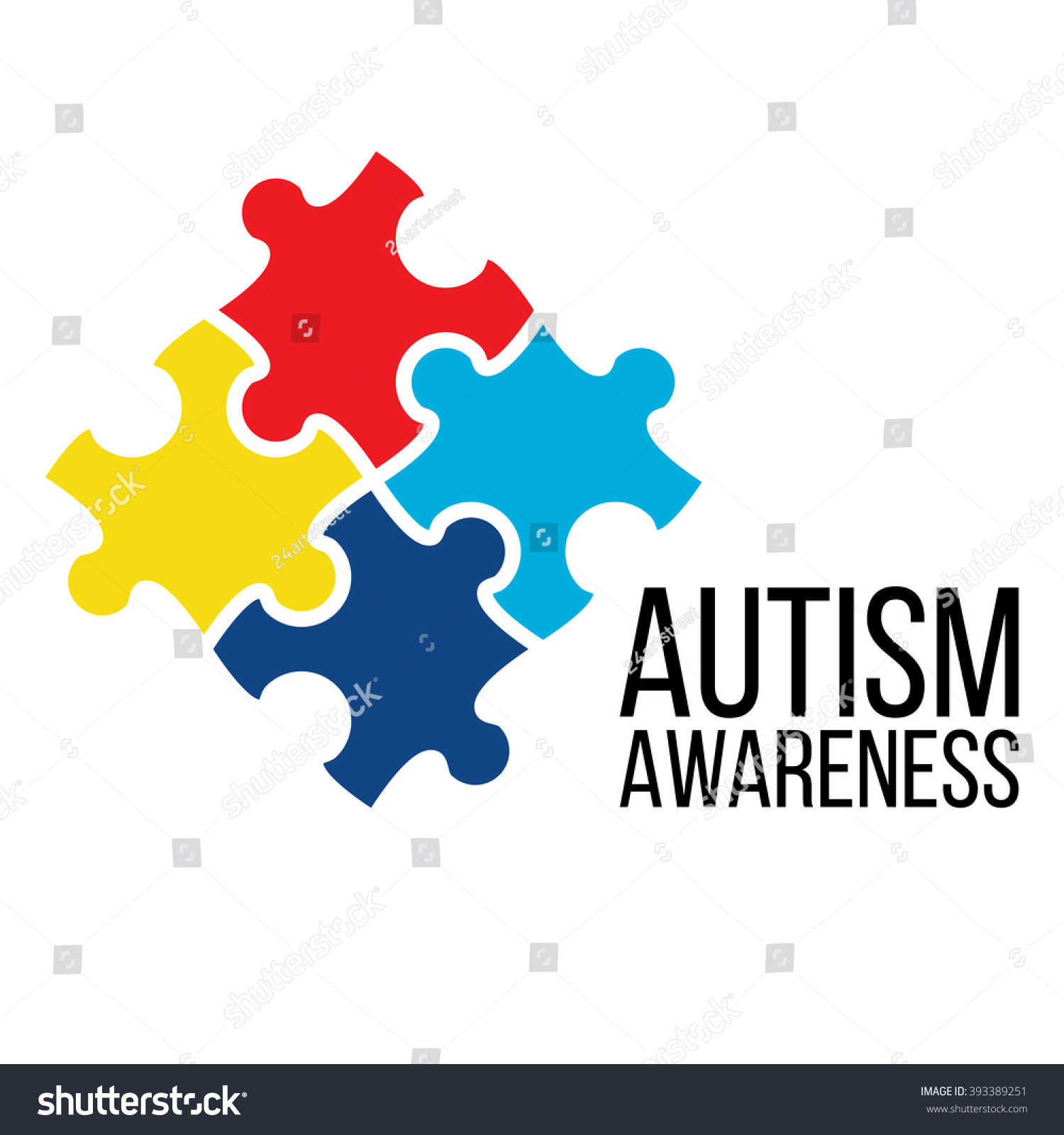 World Autism Awareness Day Card Poster Stock Vector Royalty Free