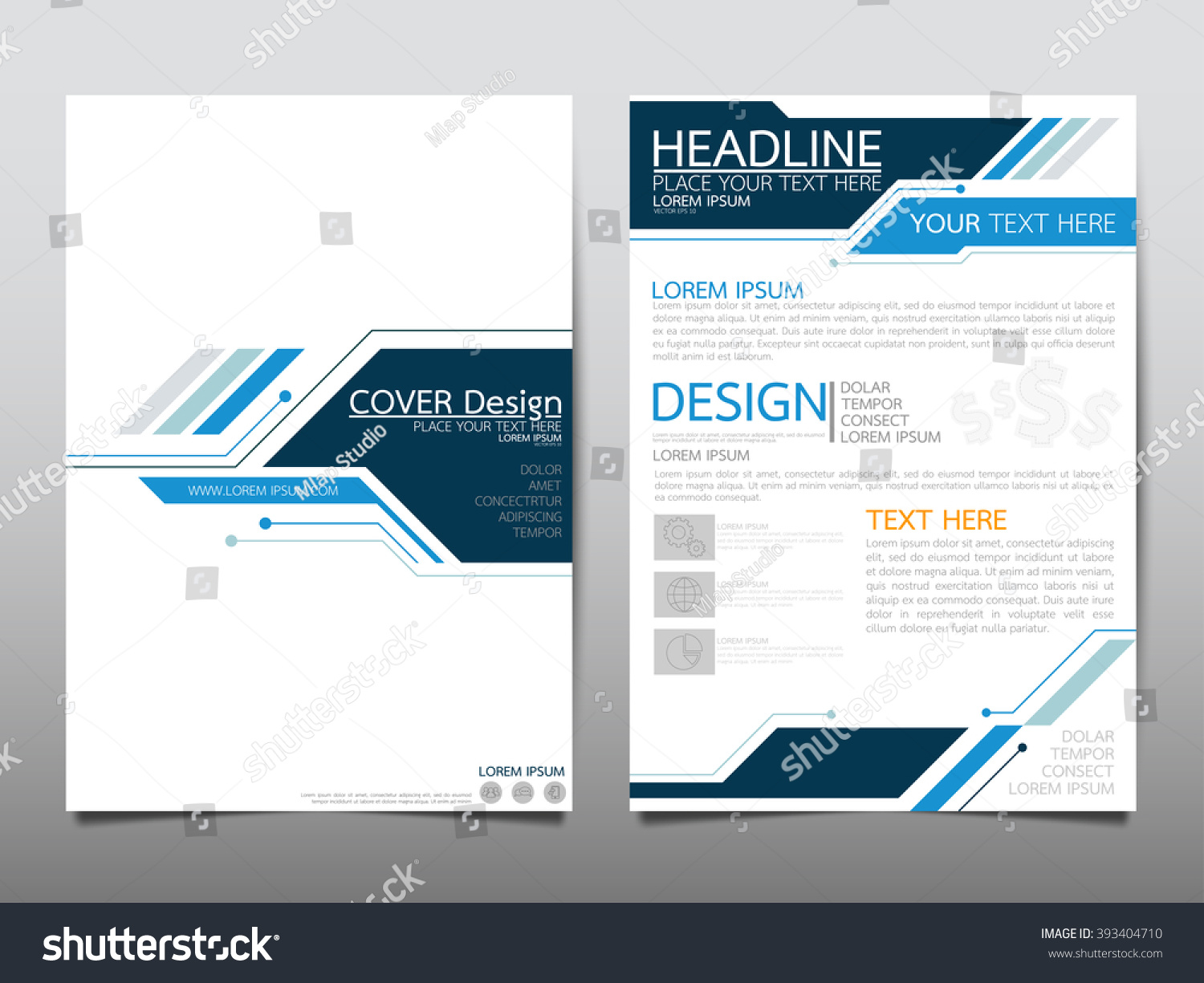 Annual report brochure flyer design template stock vector for Technology brochure templates