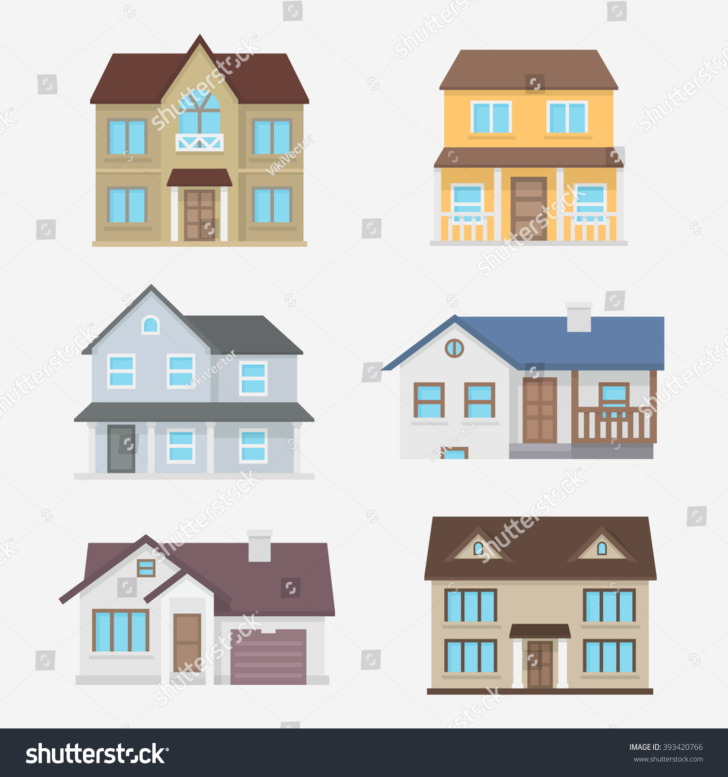 House vector illustration home exterior set stock vector for Traditional styles of houses