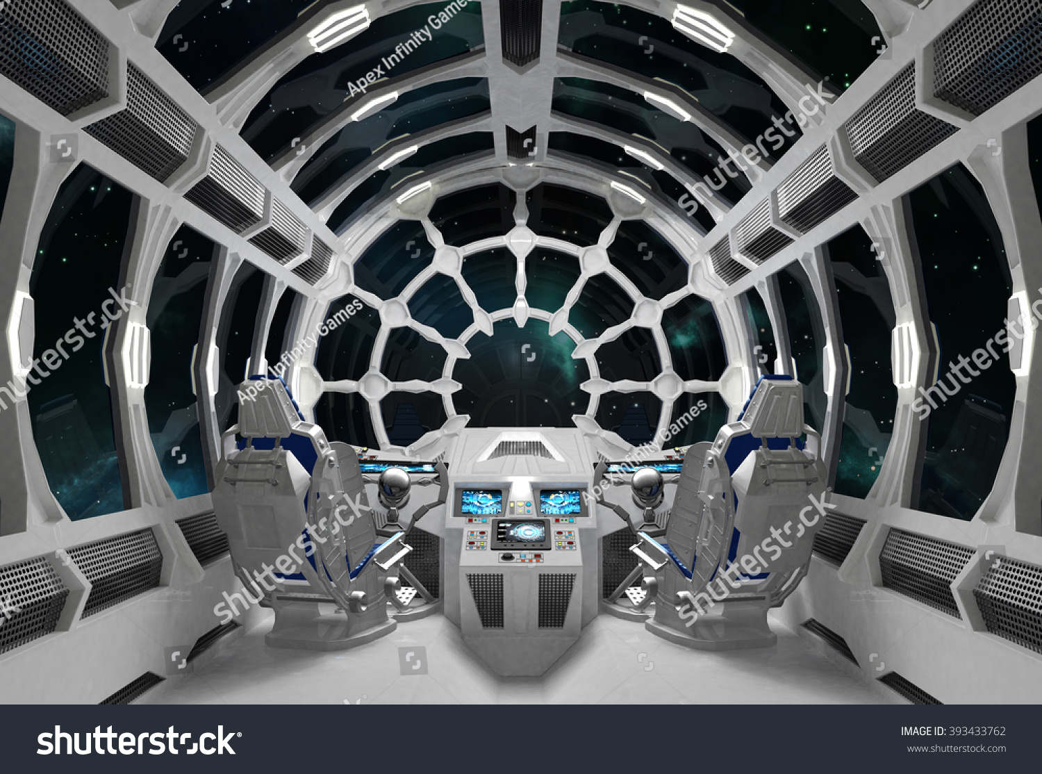 White Orion Spaceship Interior Round Glass Stock