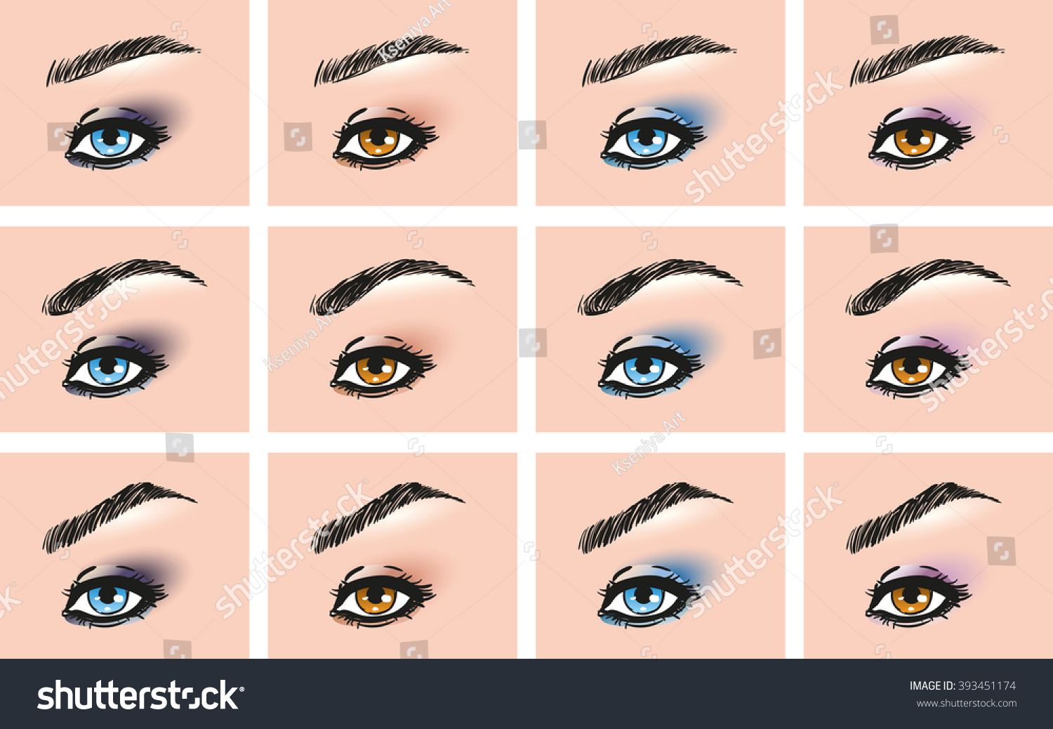 Set Female Eye Different Forms Eyebrows Stock Vector Royalty Free