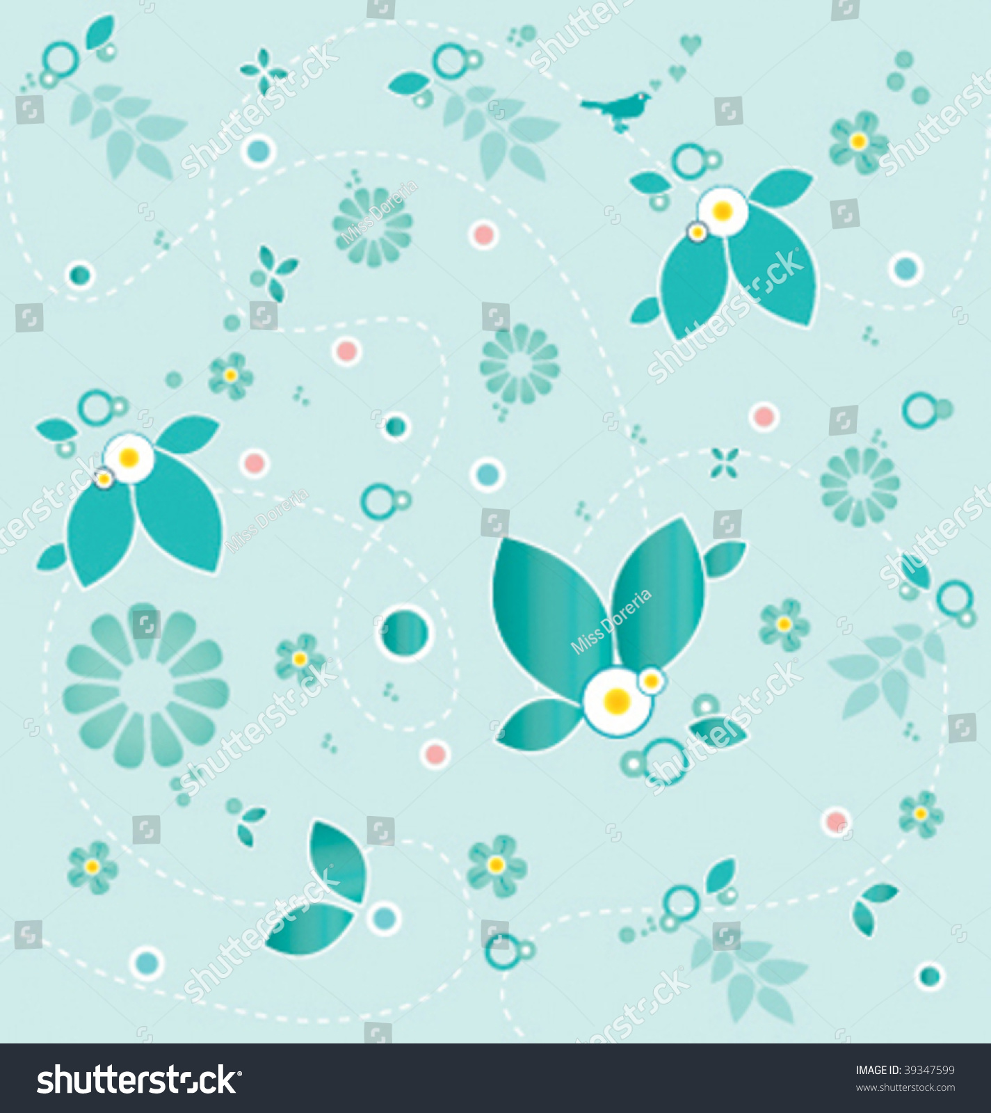 Floral Wallpaper Light Blue Elements Stock Vector Royalty Free