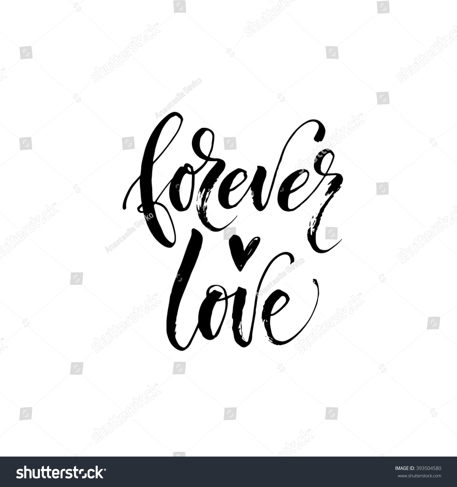 Forever love card hand drawn romantic phrase ink