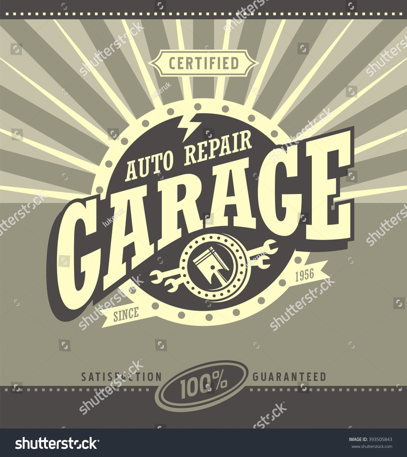 Classic garage retro banner design concept stock vector for Garage reparation auto