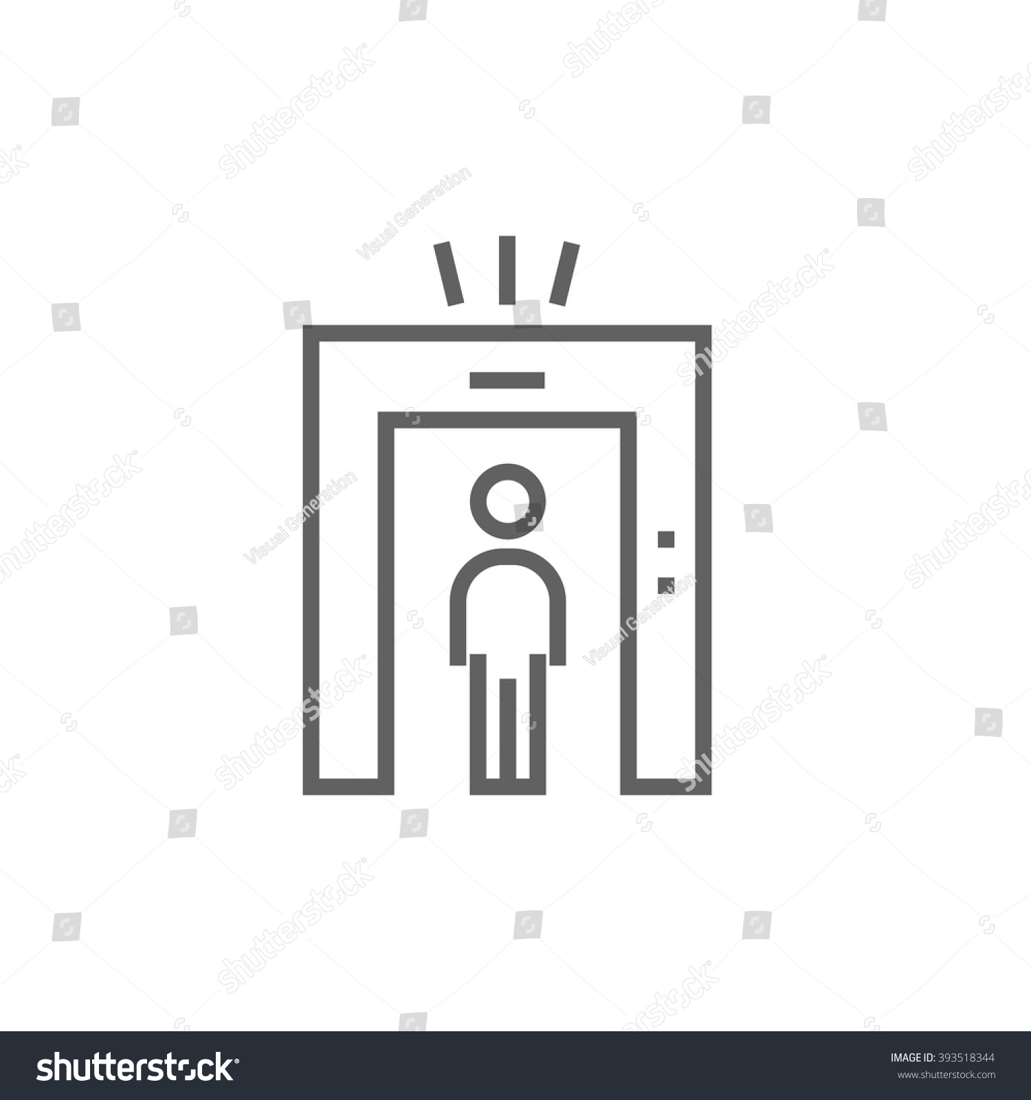 Jew Detector: Man Going Through Metal Detector Gate Stock Vector