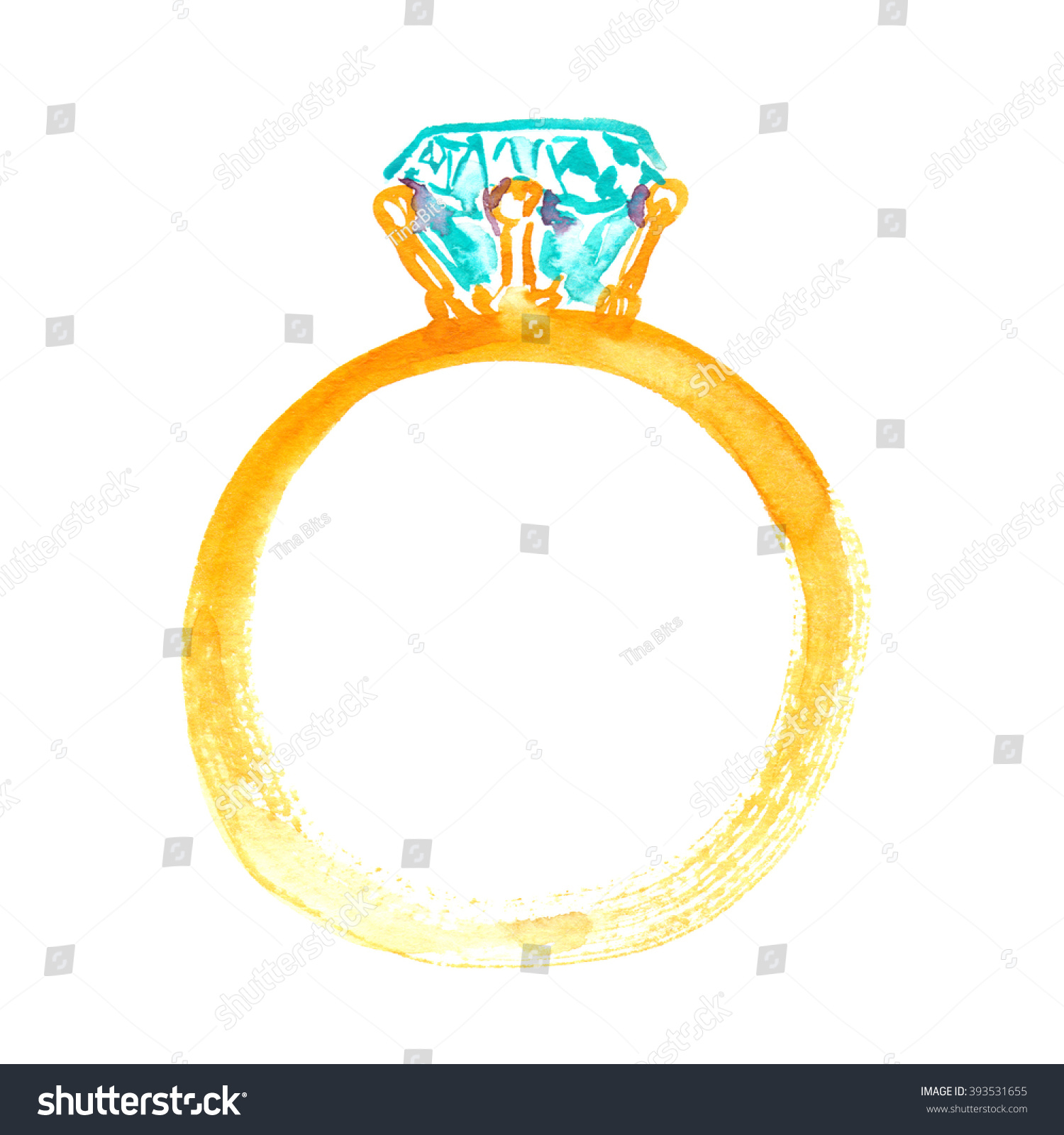 Golden Engagement Ring With Diamond Painted In Watercolor