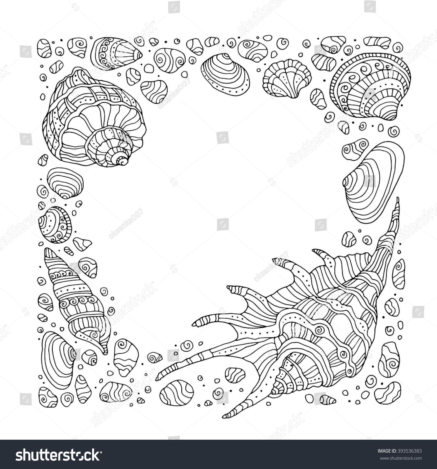 Seashell Border Frame Ocean Pattern Vector Stock Vector
