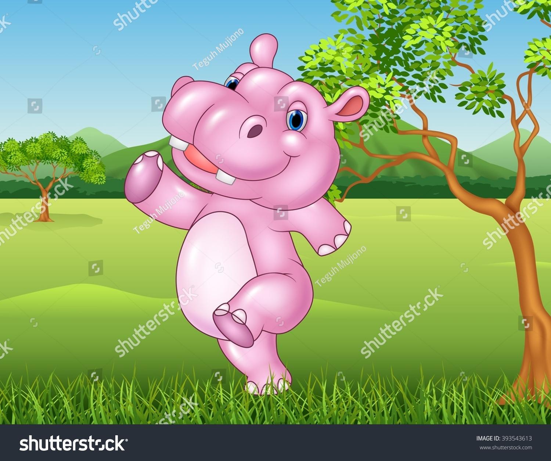 Cartoon Hippo Walking Happy Jungle Stock Illustration