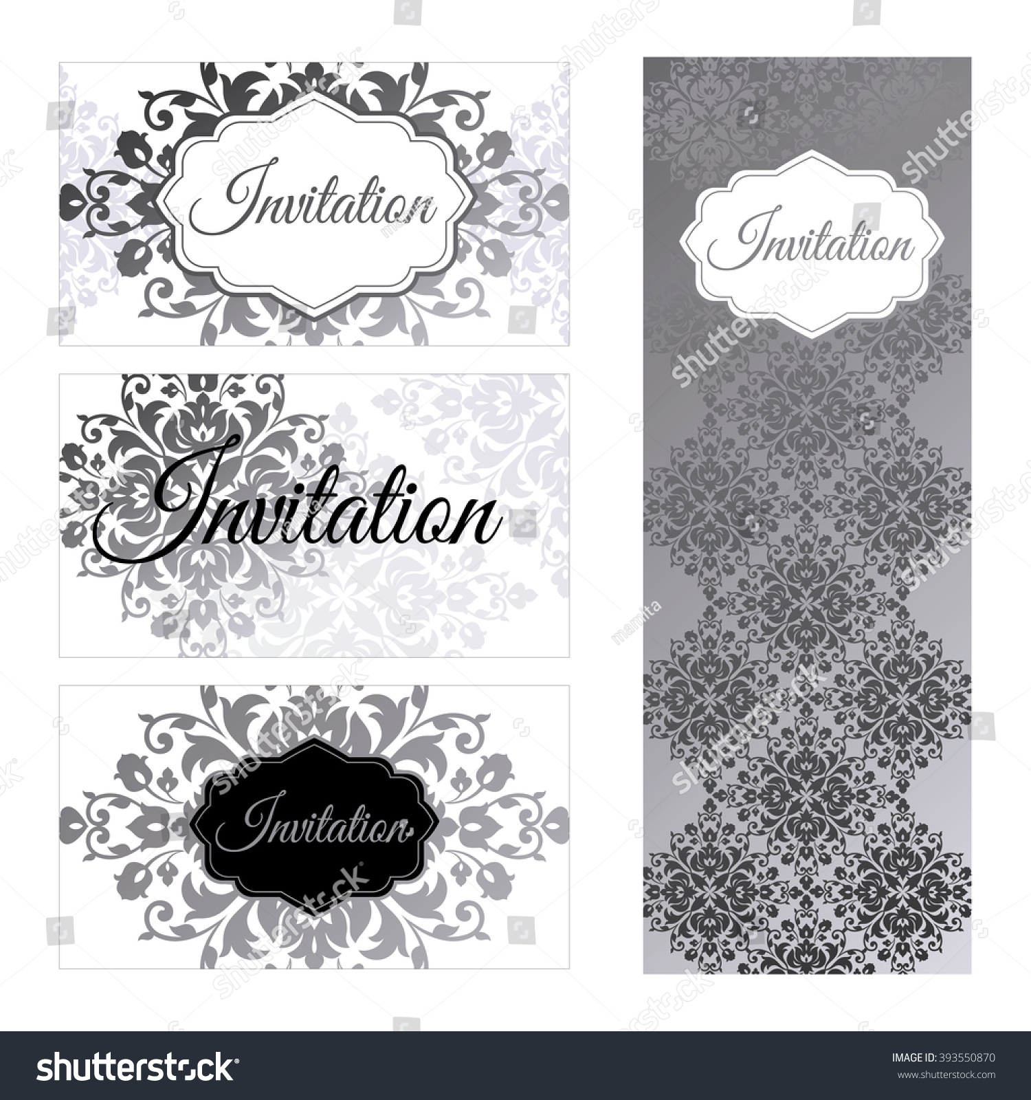 set invitations templates business cards silver stock vector