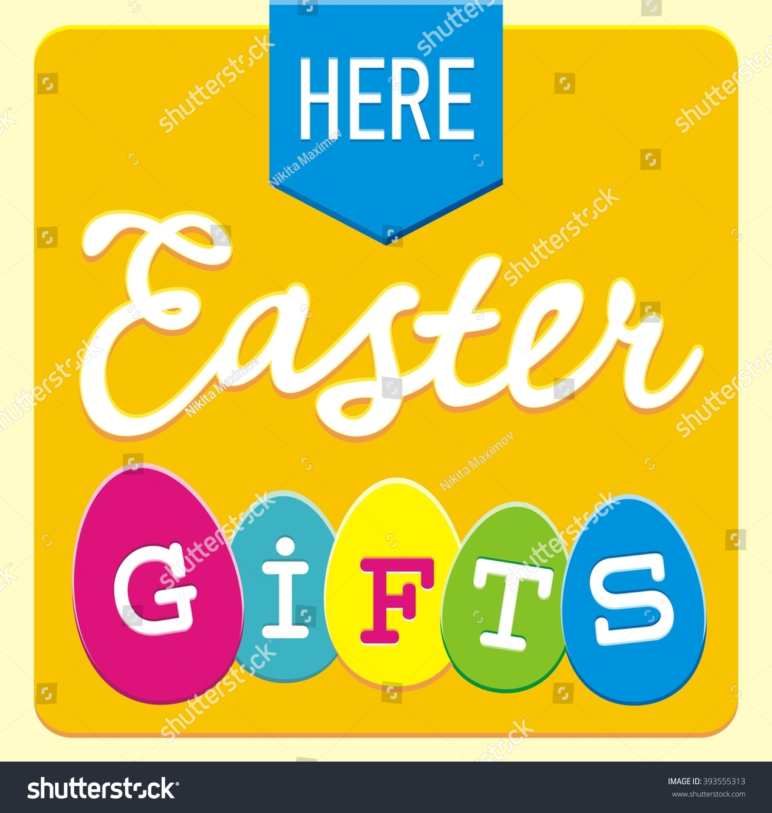 Here easter gifts sign illustration ribbon stock illustration here easter gifts sign illustration with ribbon arrow calligraphy font and different form colorful negle Gallery