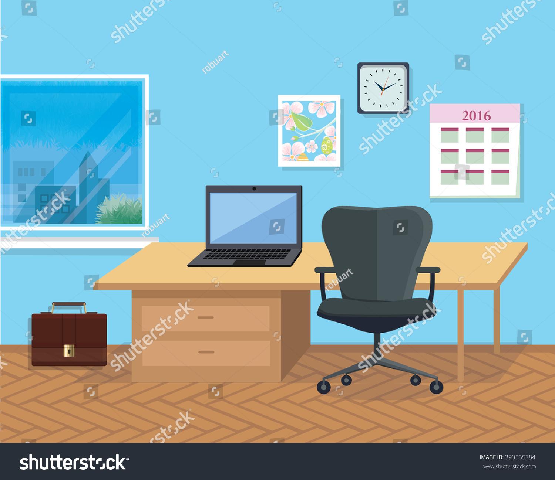 modern interior office stock. modern office interior with designer desktop in flat design room space stock
