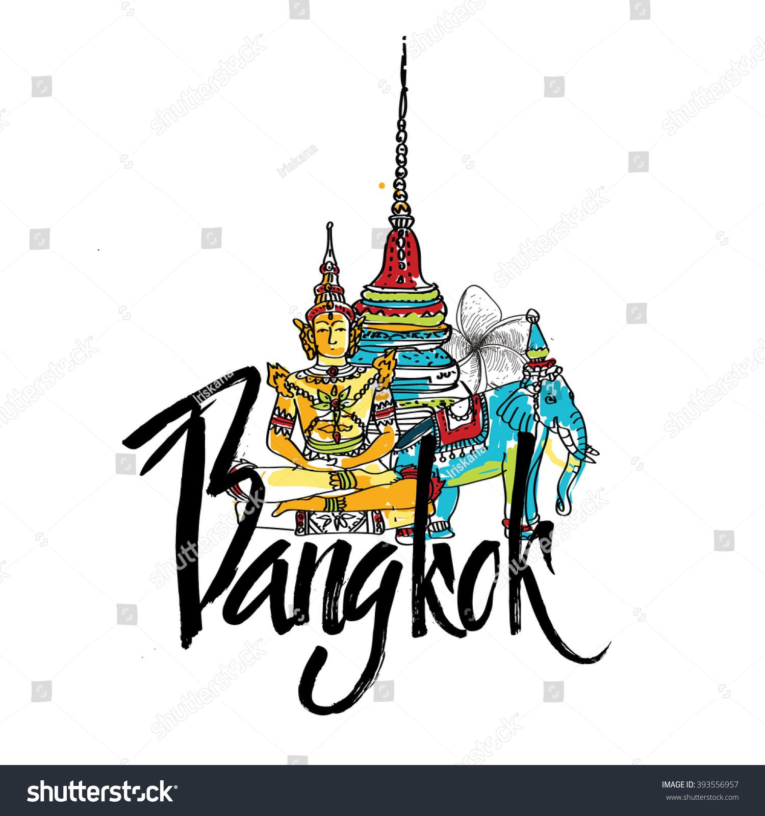 Temple Emerald Buddha Bangkok Thailand Logo Symbol Stock Vector