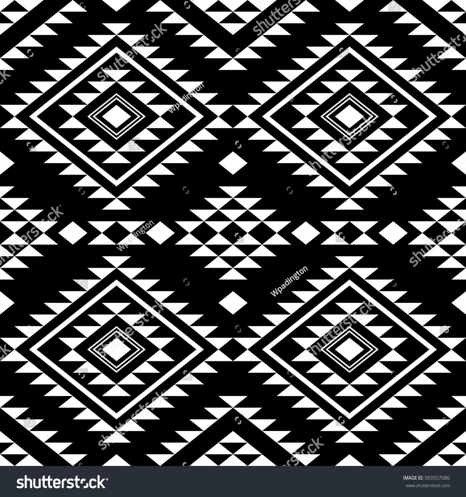 Seamless Pattern With Ethnic Aztec Ornament Abstract Wallpaper In Boho Chic Style Black And