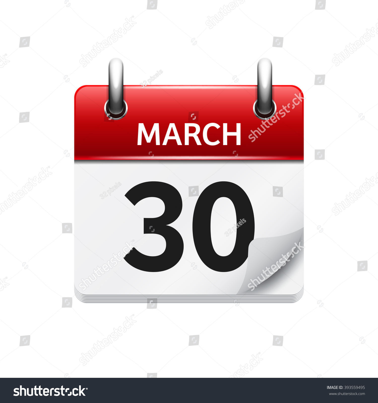 March 30 Vector Flat Daily Calendar Stock Vector 393559495 ...