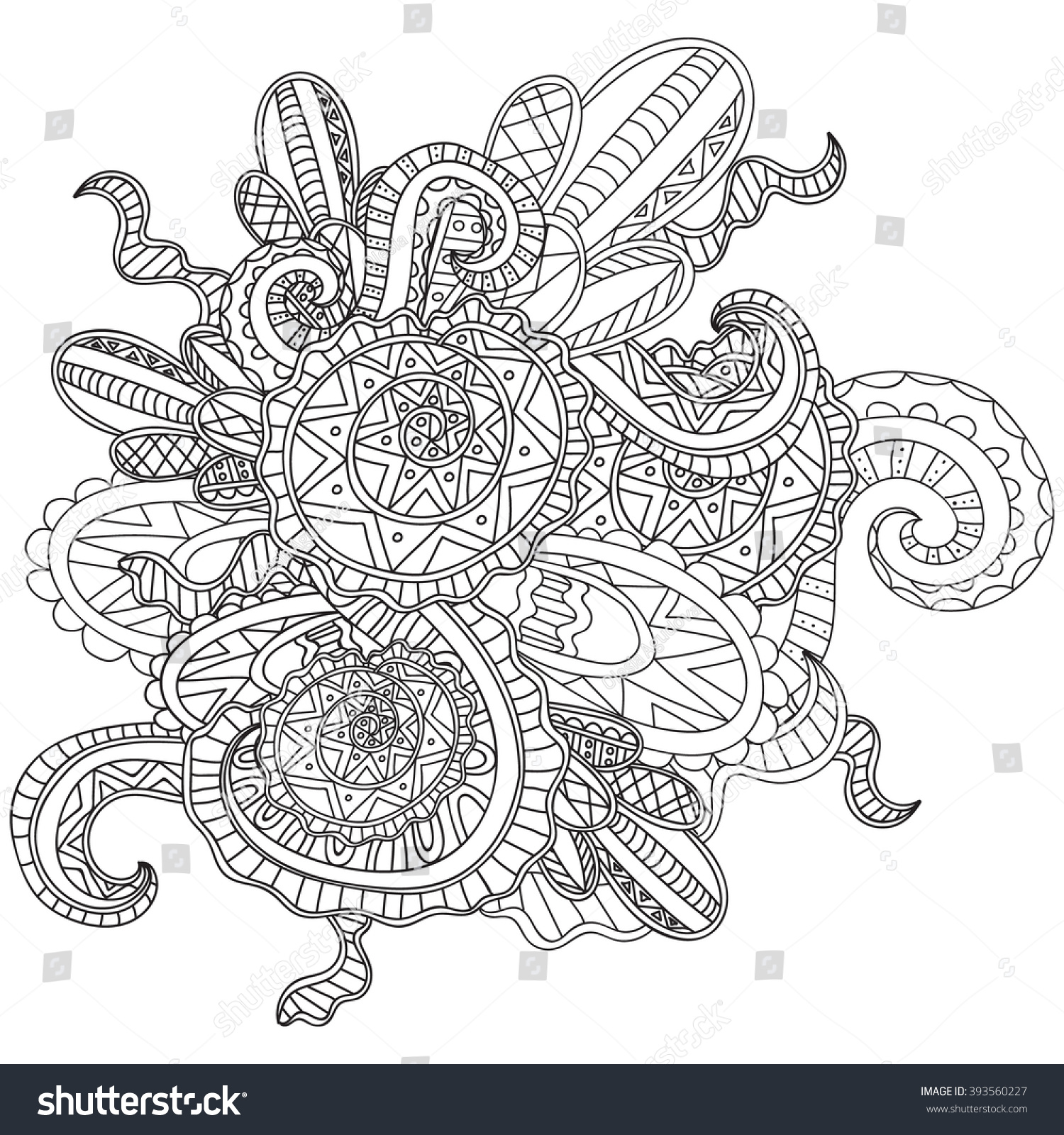 Coloring Pages Adults Book Decorative Hand Stock Vector 393560227