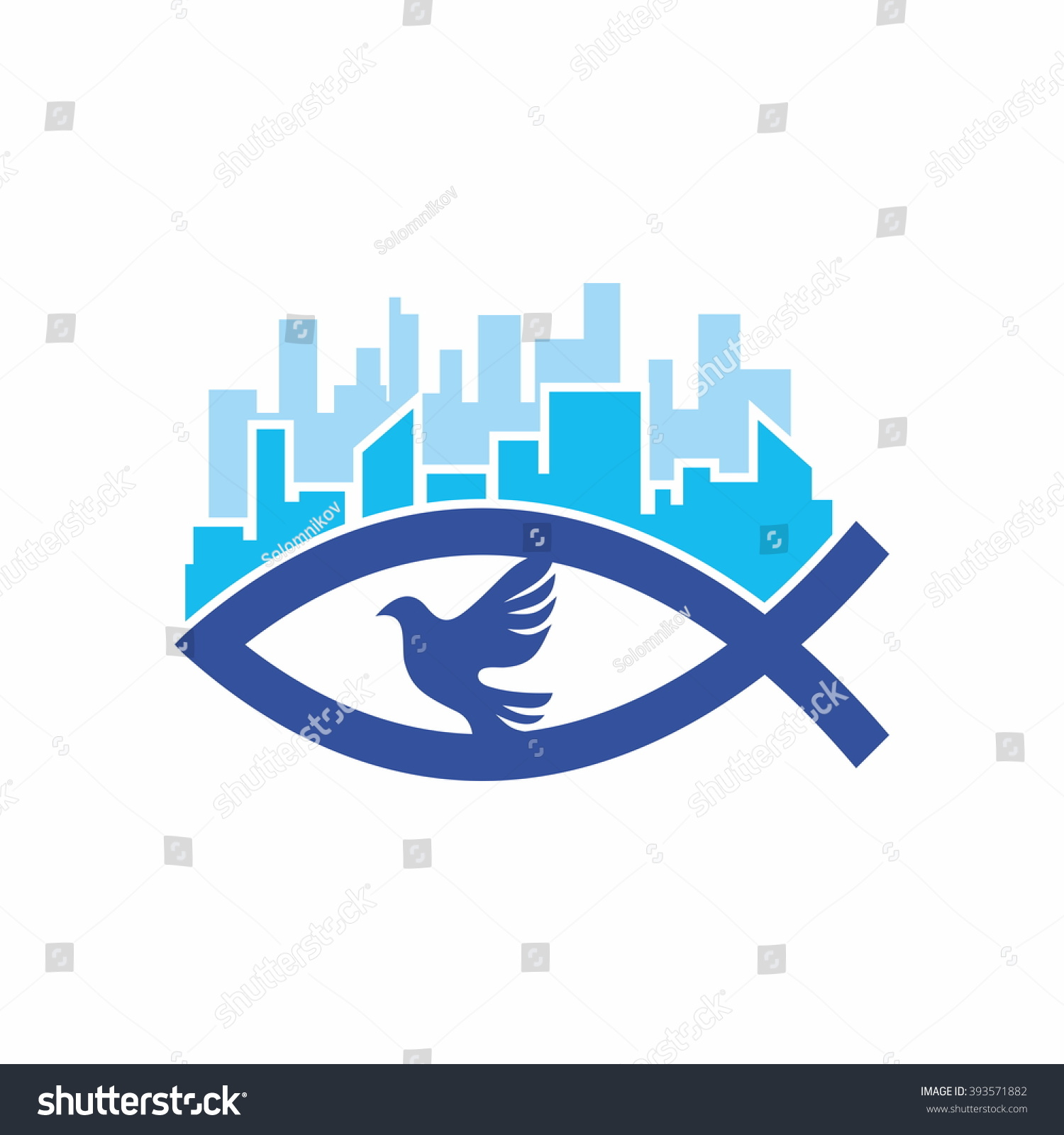 Church Logo Christian Symbols Jesus Fish Stock Vector Royalty Free