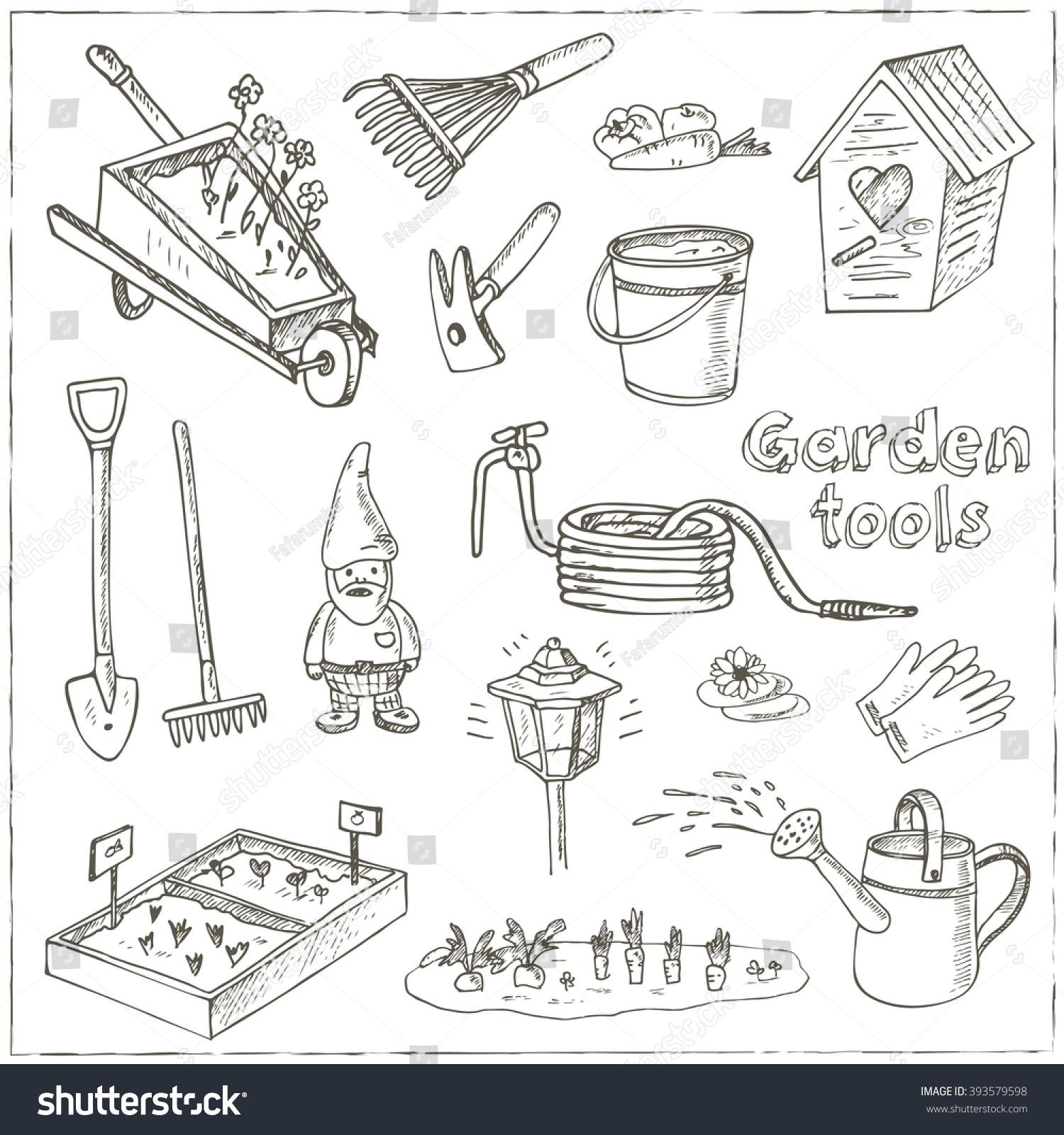 Garden tools doodle set various equipment stock vector for Garden equipment deals