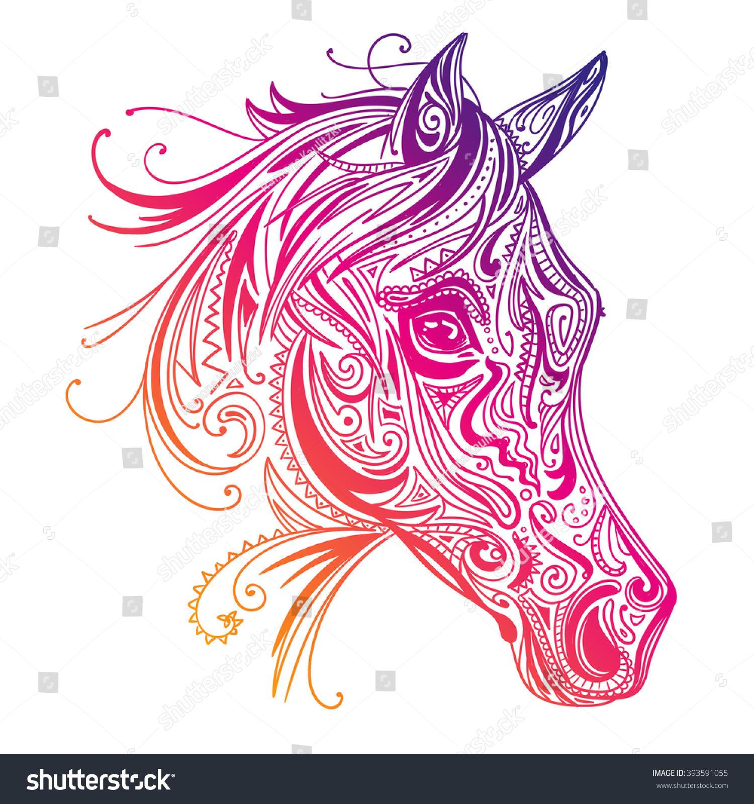 Vector Illustration Abstract Ornamental Horse Stock Vector