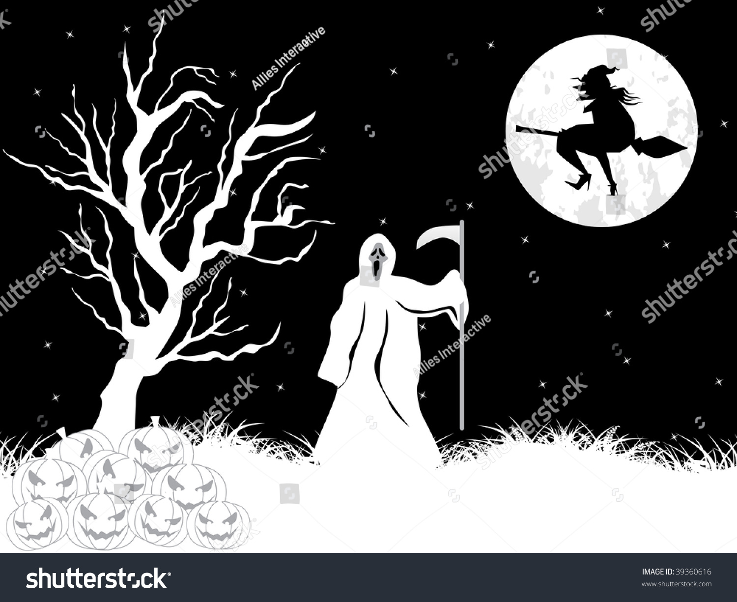 Abstract Black White Halloween Background Vector Stock Vector Royalty Free 39360616