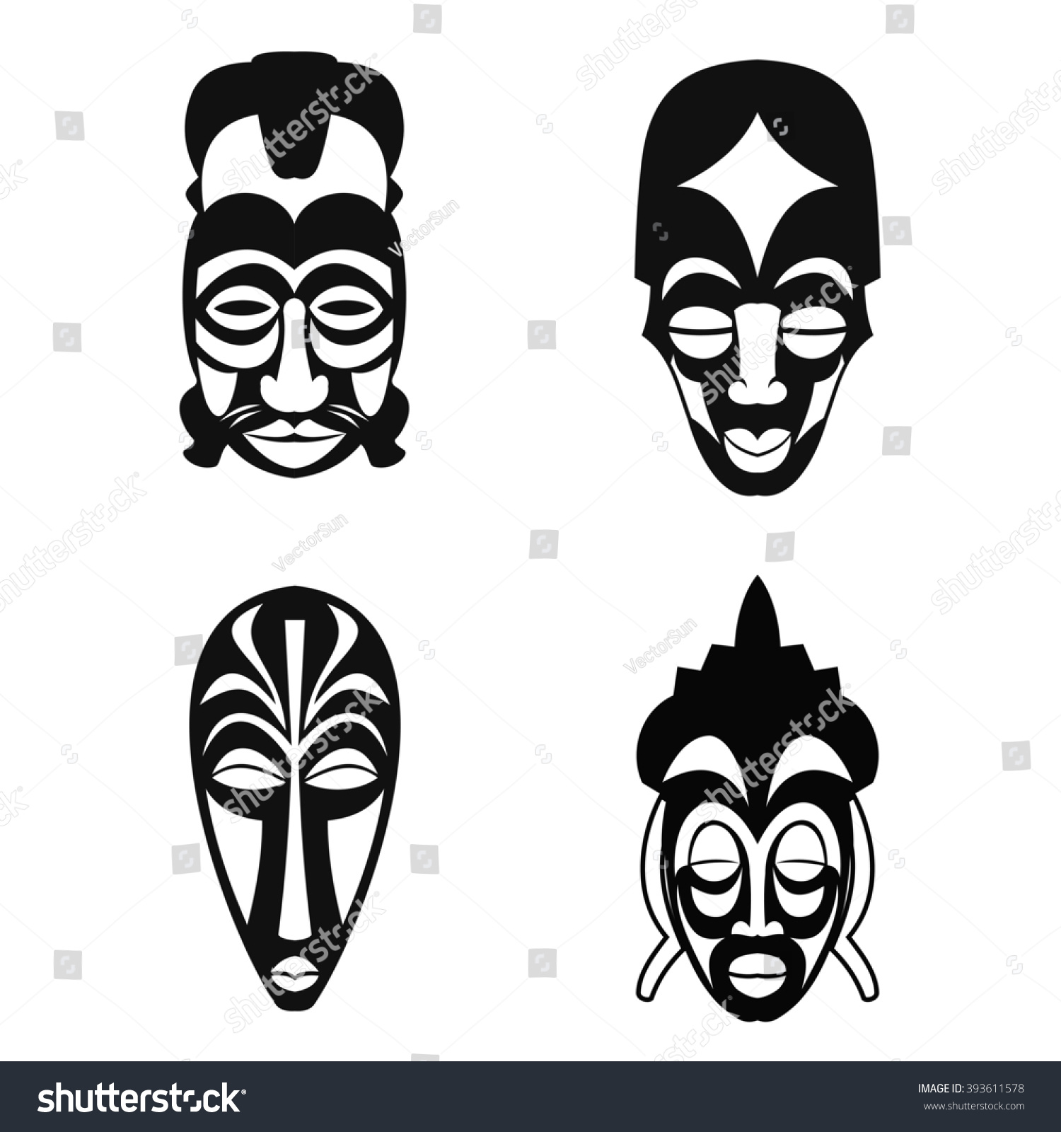 Set african ethnic tribal masks on stock vector 393611578 shutterstock set of african ethnic tribal masks on white background flat icons ritual symbols biocorpaavc Image collections
