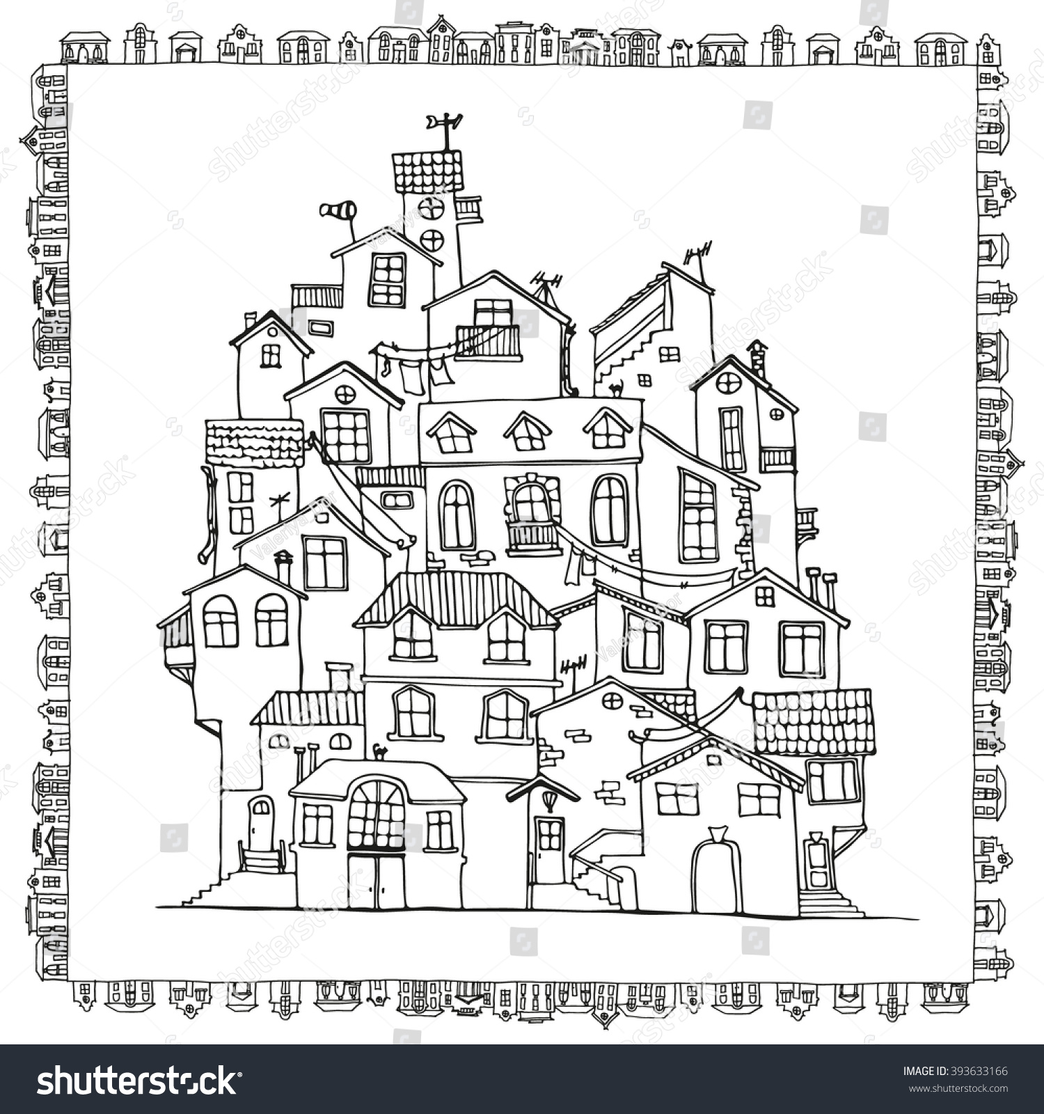 Hand Drawn Doodle Houses Black White Stock Vector