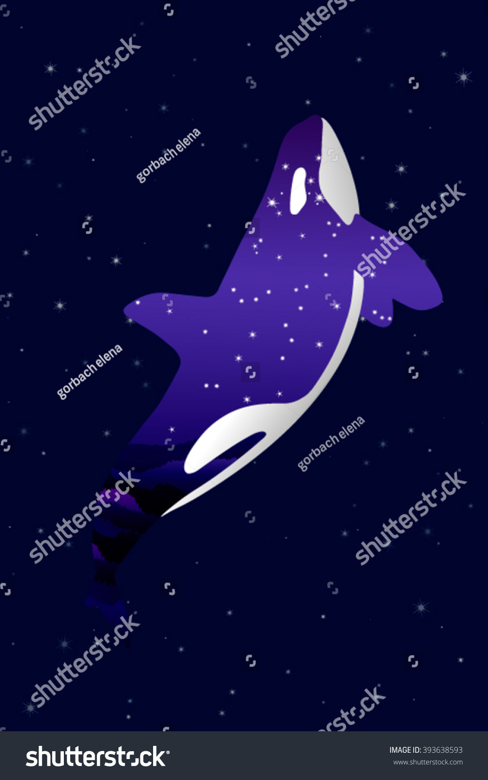 space whale illustration stars texture on stock vector 393638593