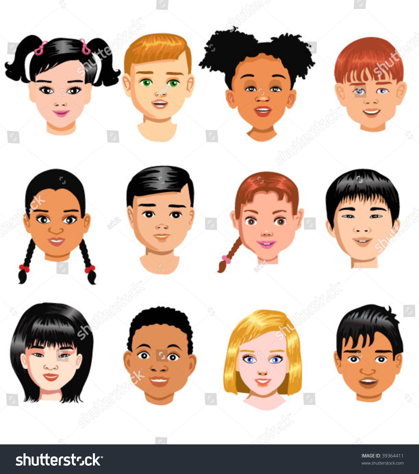 Children Of Different Races Stock Vector 39364411 : Shutterstock