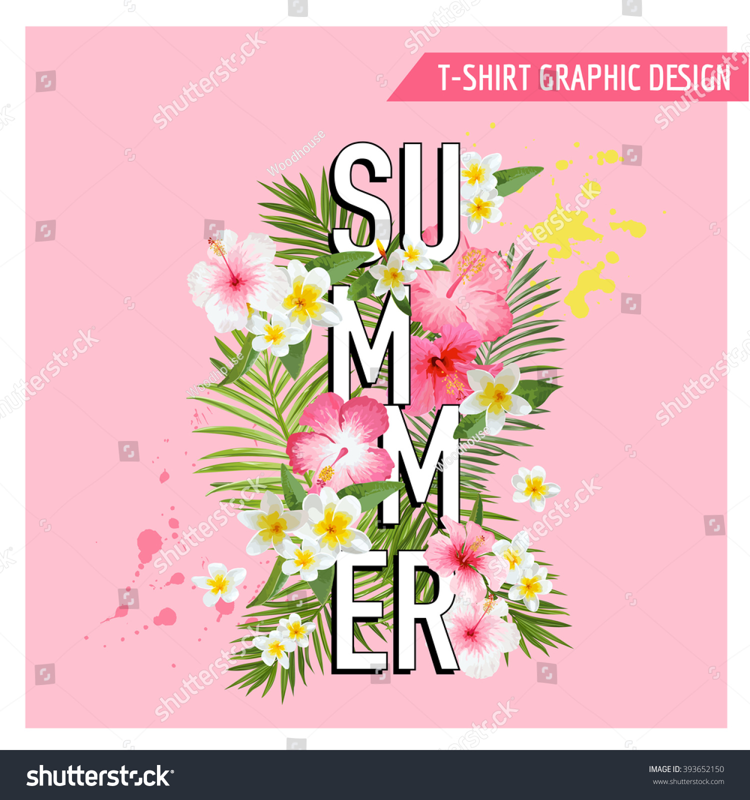 Tropical Flowers and Leaves Background Summer Design Vector T-shirt Fashion Graphic