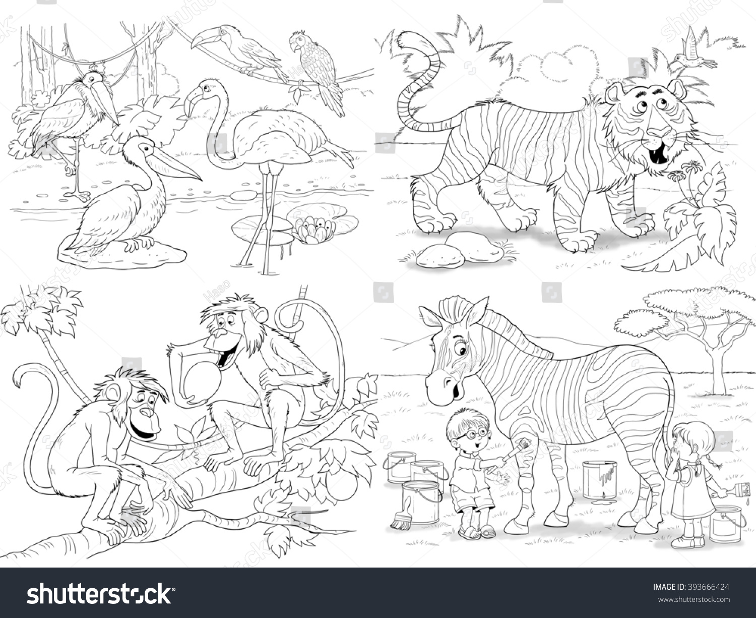 Zoo Small Set Cute African Animals Stock Illustration