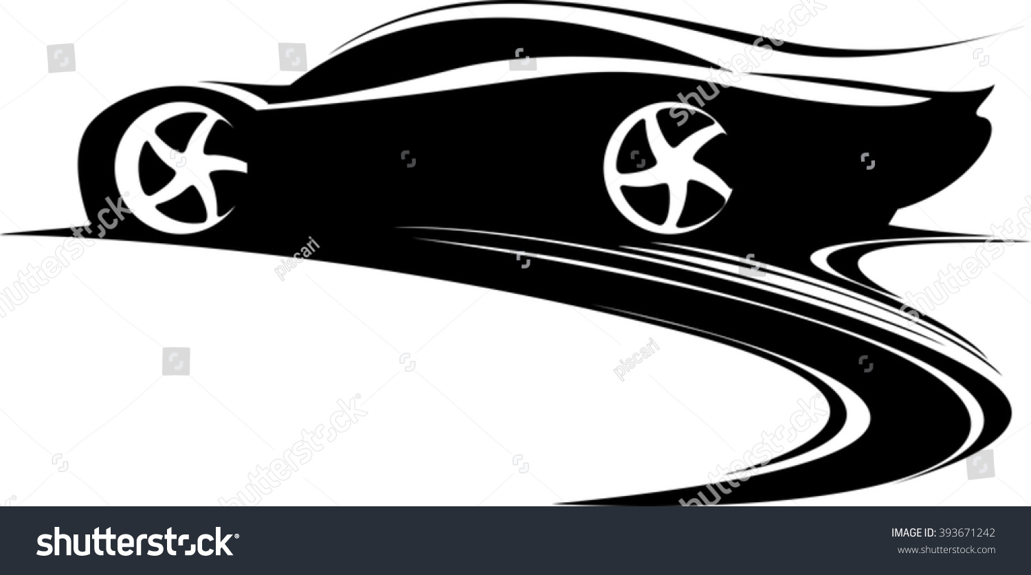 Sport car label design fast car emblem black and white car silhouette vector