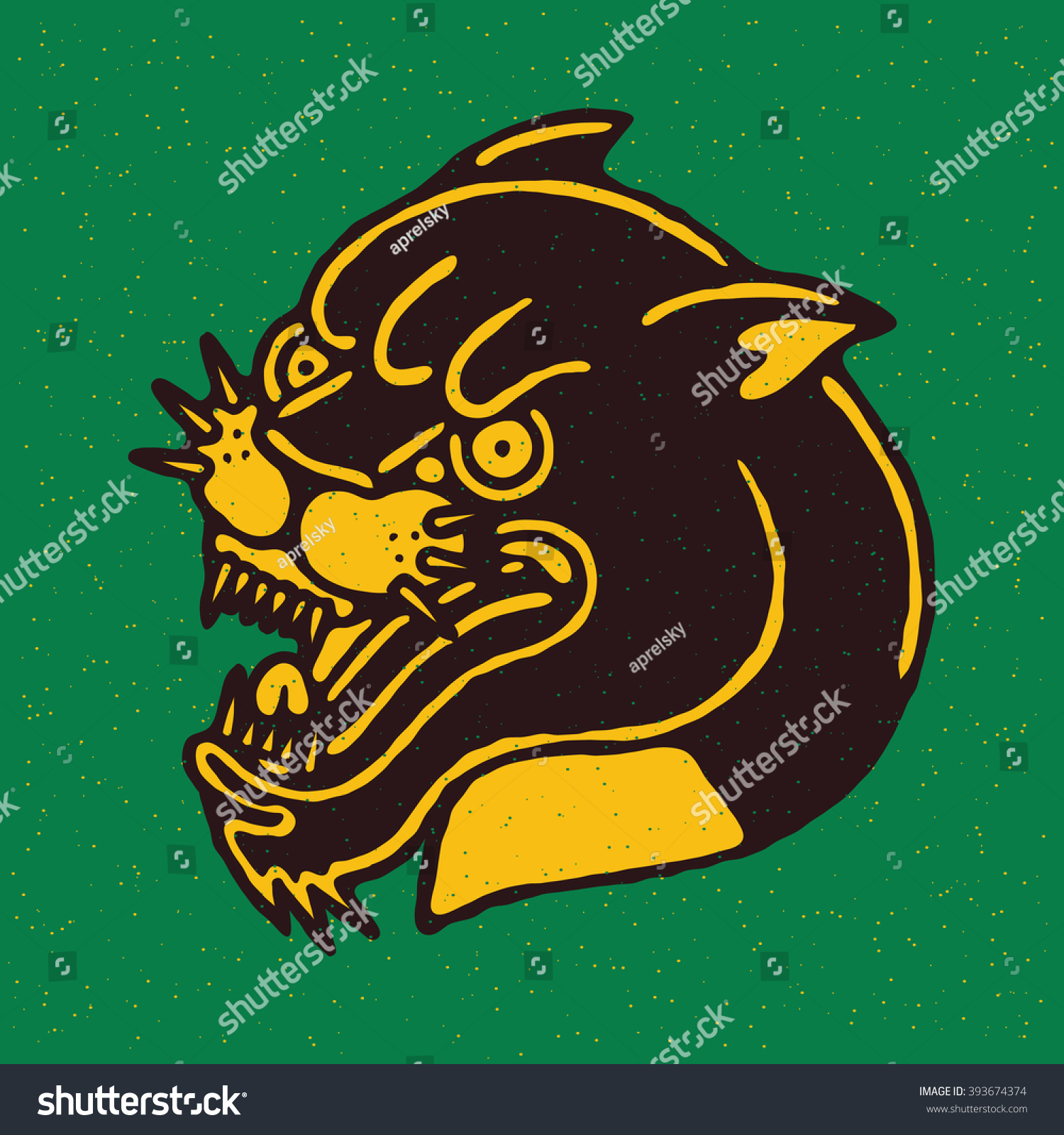 Angry Black Panther Head Traditional Tattoo Flash Vector illustration On Grunge Texture Background