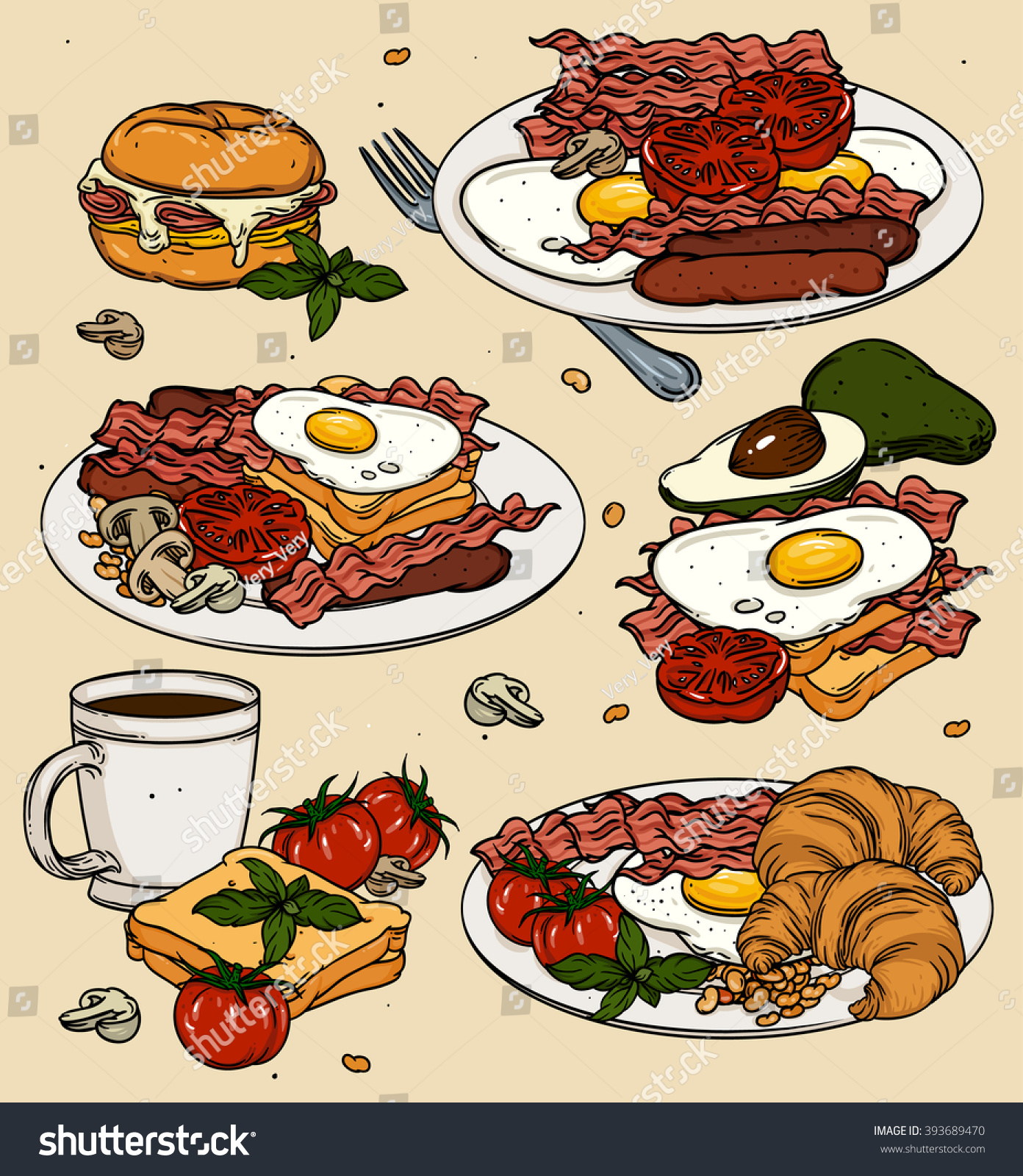 Healthy Breakfast Set Cartoon Food Toast Stock Vector ...