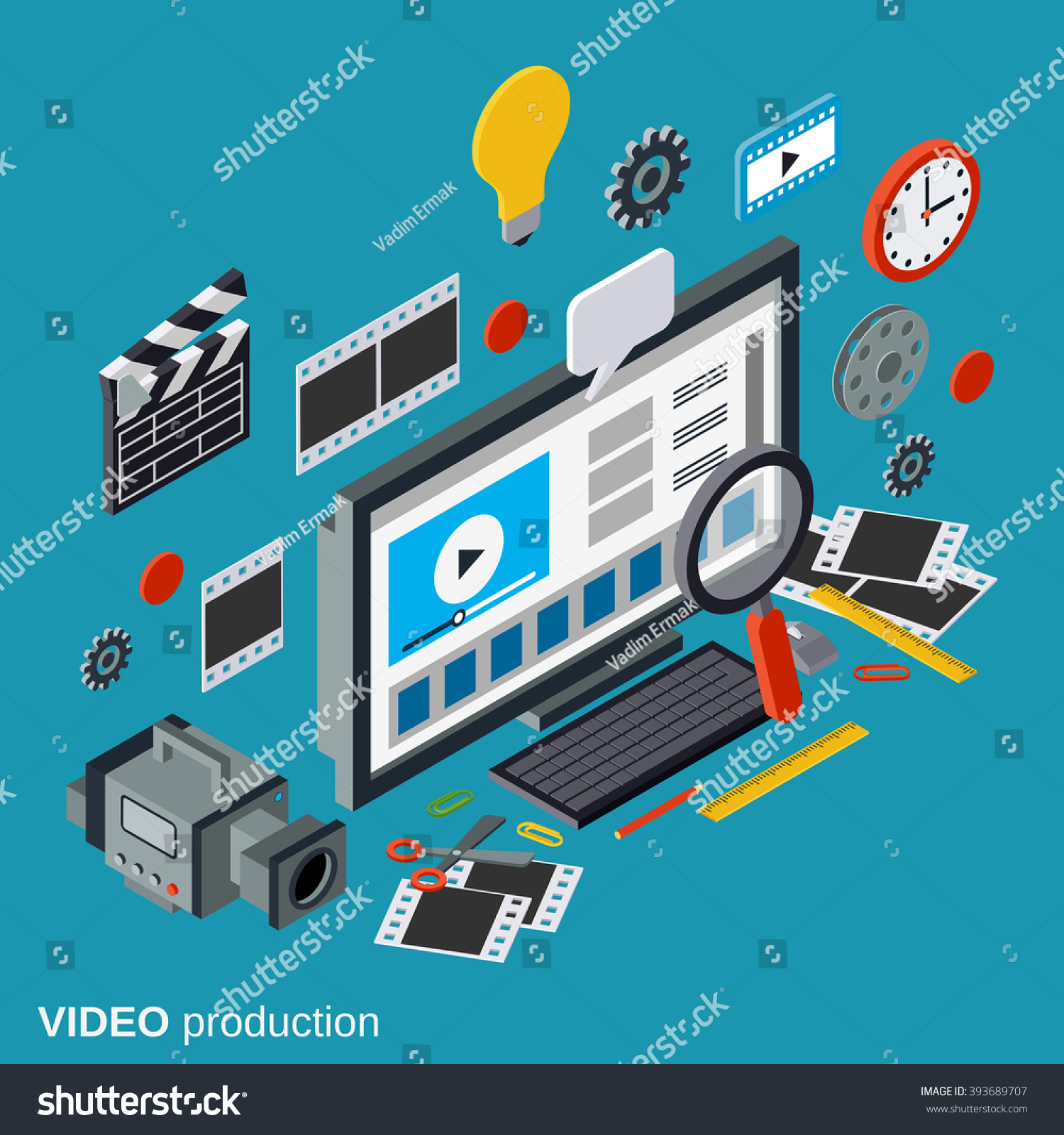 Video Production Flat 3d Isometric Vector Stock Vector