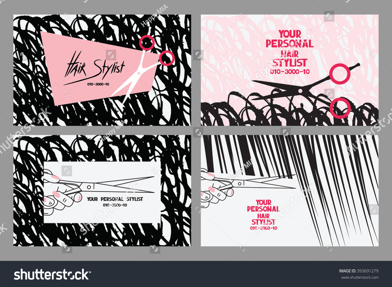 Hair Stylist Business Cards Abstract Hair Stock Vector 393691279 ...