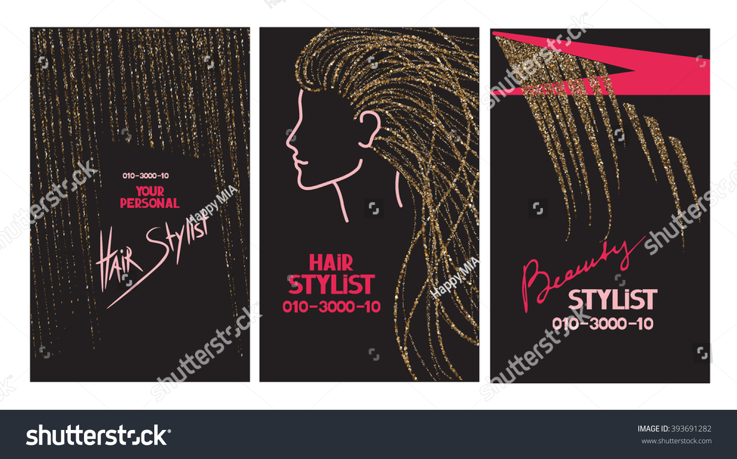 Hair Stylist Business Cards Abstract Gold Stock Vector 393691282 ...