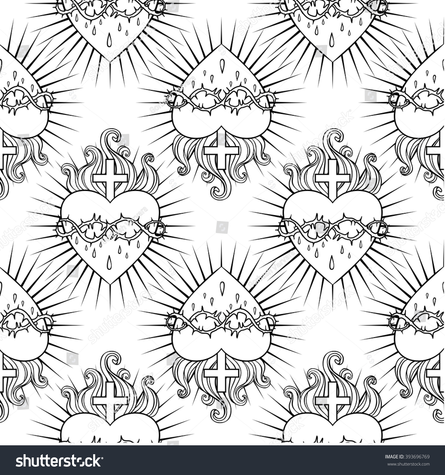 sacred heart of jesus seamless pattern vector illustration trendy vintage style element
