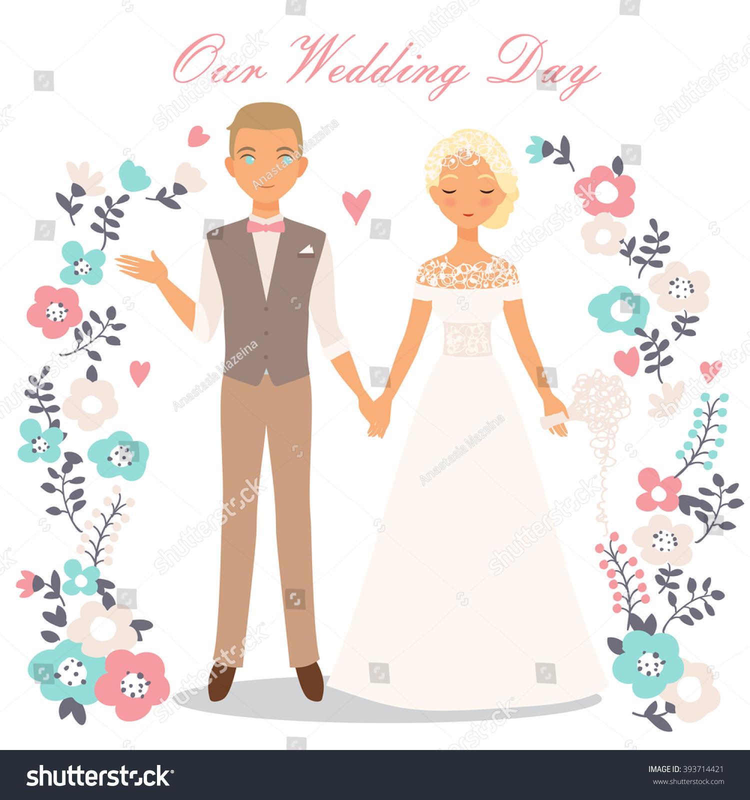 Cute Wedding Couple Vector Illustration Stock Vector ...