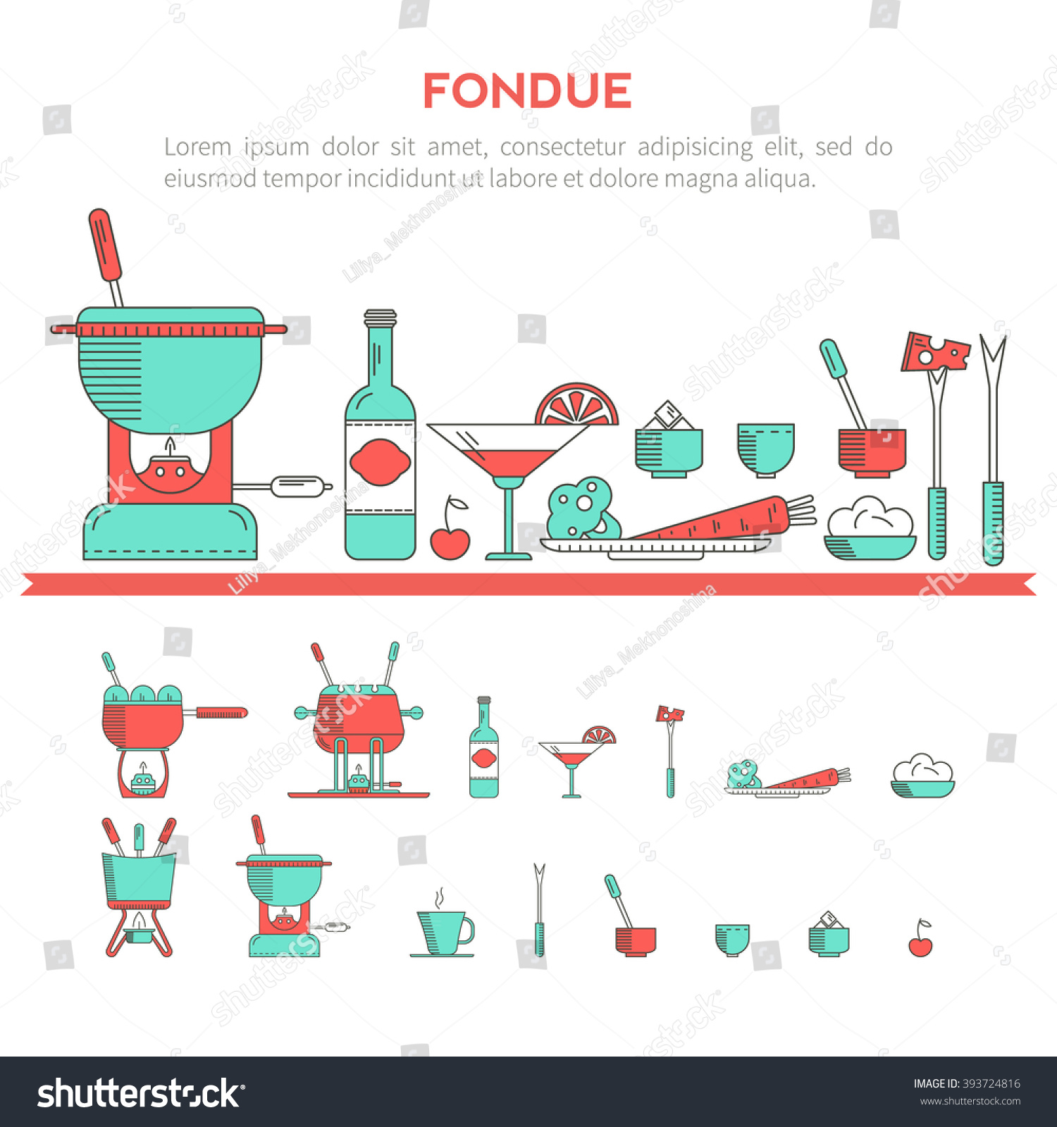 Fondue Party Vector Icon Set Trendy Stock Vector (2018) 393724816 ...