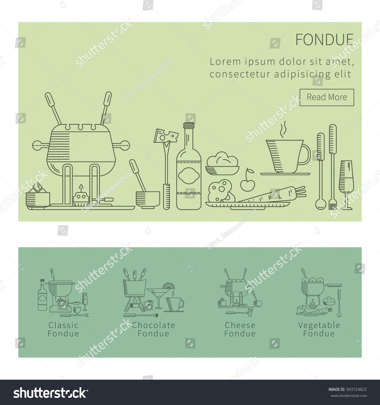 Fondue Party Vector Icon Set Trendy Stock Vector 393724822 ...