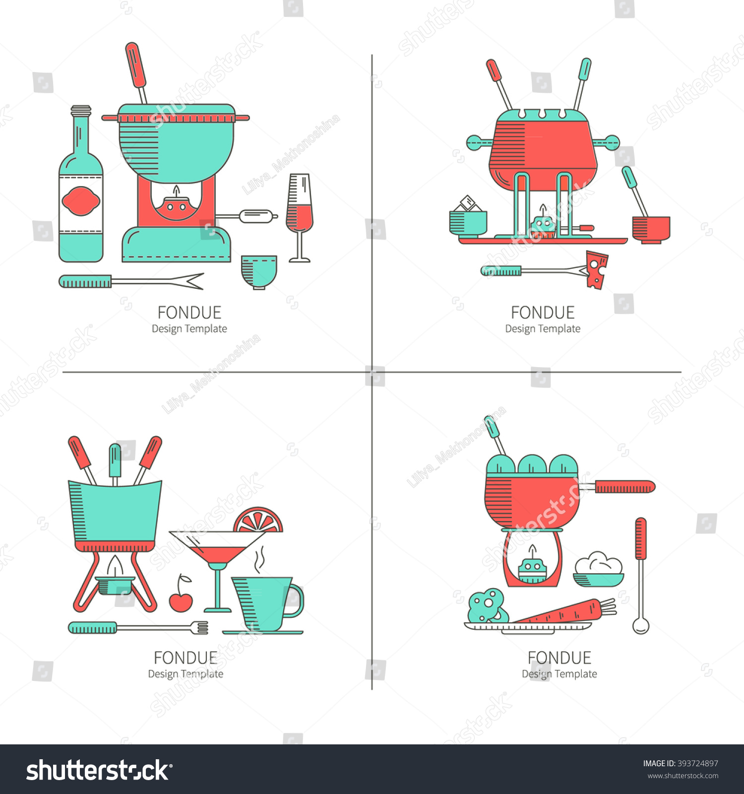 Fondue Party Vector Icon Set Trendy Stock Photo (Photo, Vector ...