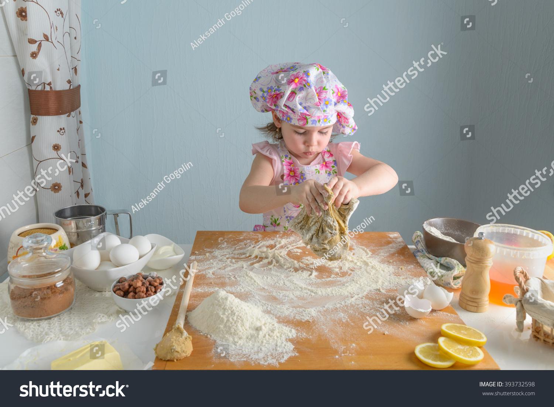 Little Girl Preparing Cakes Kitchen Stock Photo (Royalty Free ...