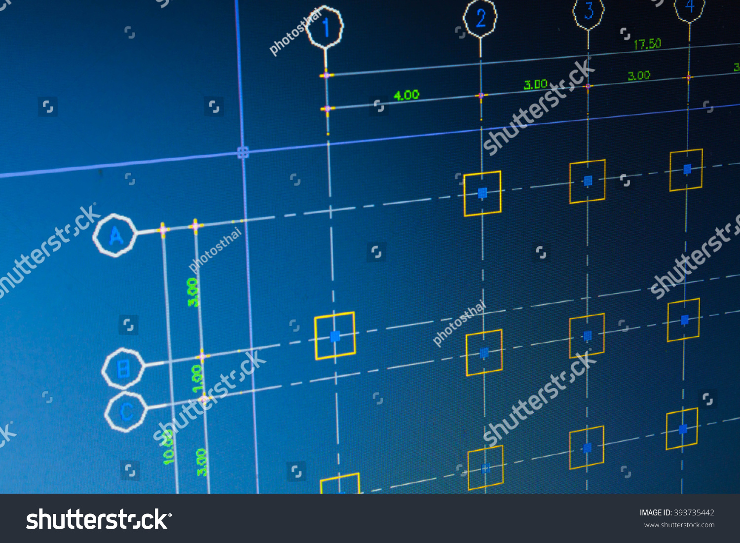 Close blueprint architect construction computer project stock close up blueprint architect construction with computer project sketch concept background malvernweather Gallery
