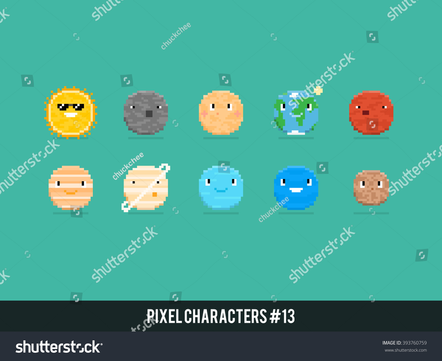 Set planets solar system cartoon style flat icon stock vector image - Pixel Art Characters Solar System Planets Stock Vector