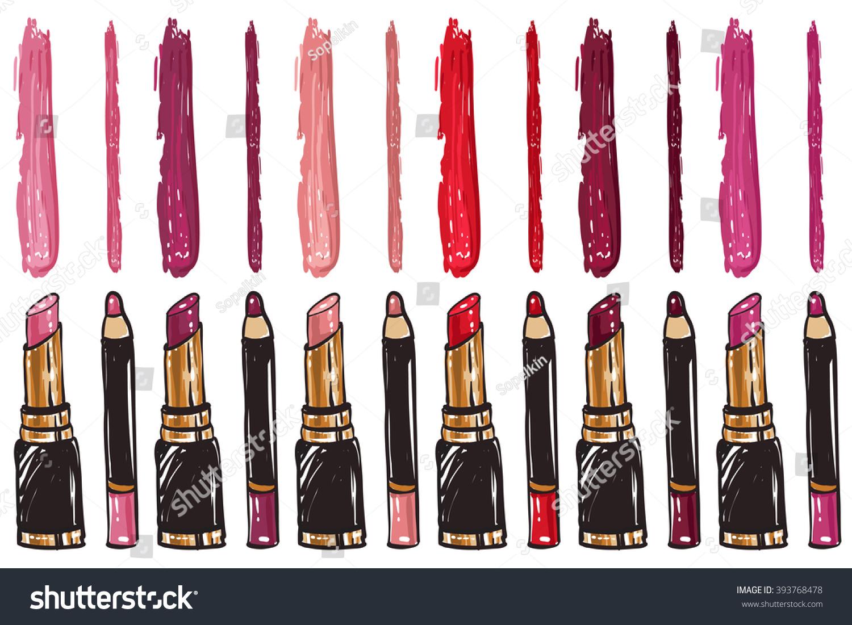 Vector Fashion Sketch Makeup Set Lipstick Stock Vector Royalty Free