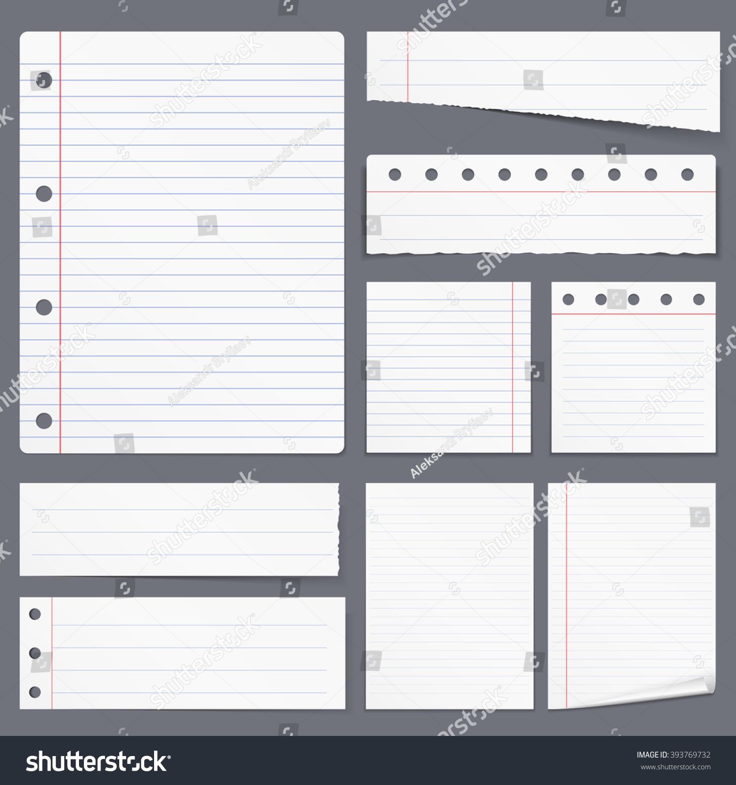blank white lined paper notebook paper stock vector (royalty free